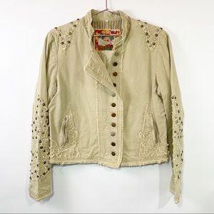 Johnny was Biya studded crop military jacket